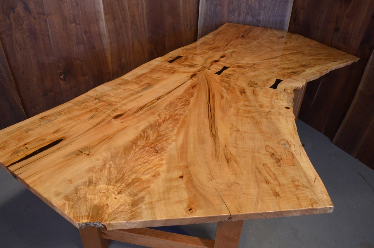 Handmade Spalted Curly Burl Maple Dining Table