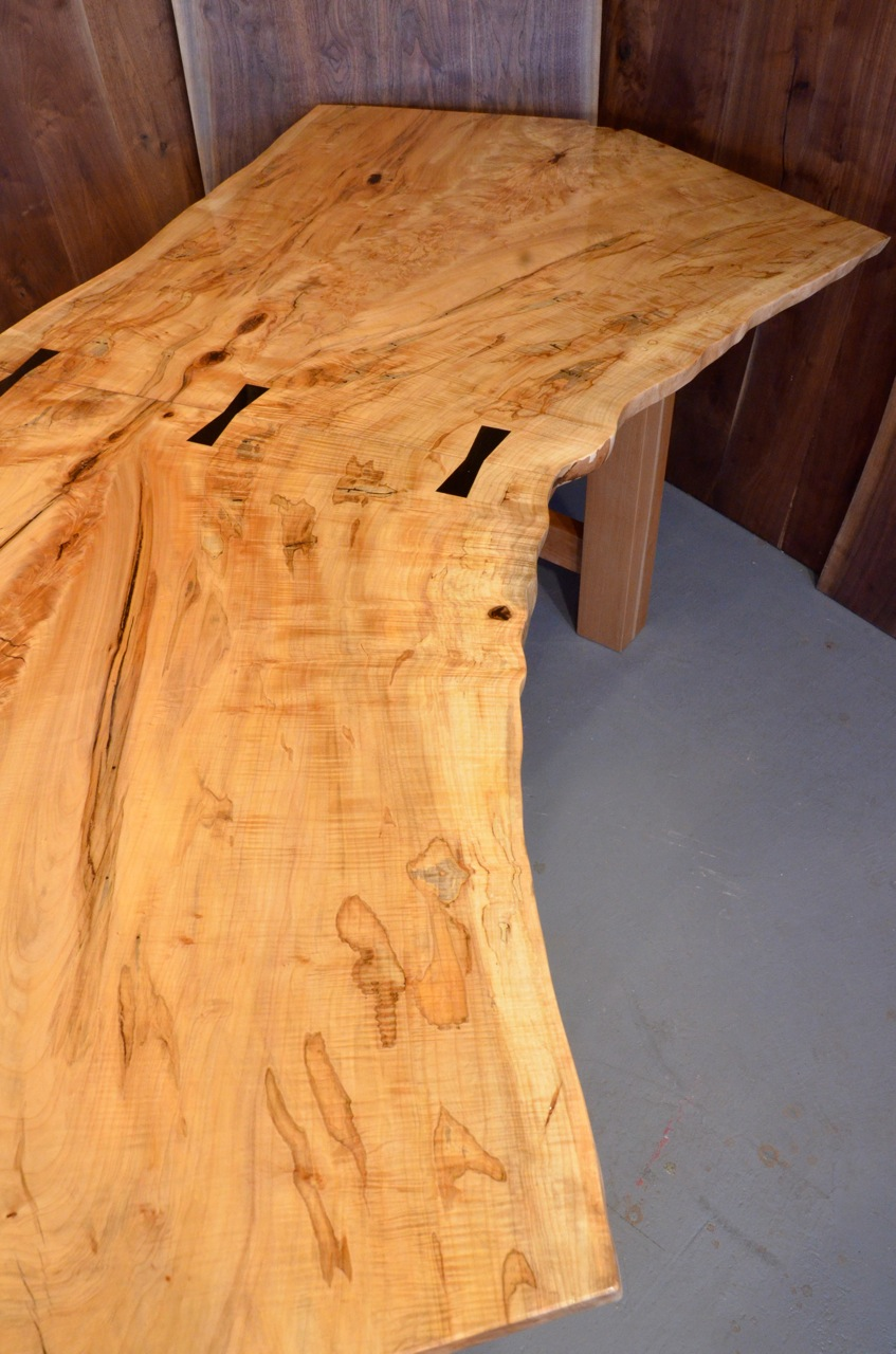 Spalted Curly Burl Maple Dining Table