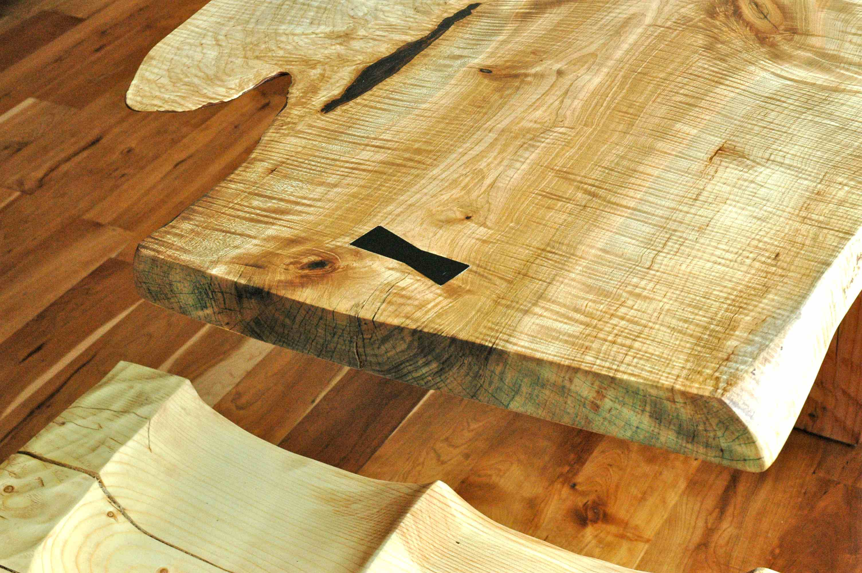 Extremely Curly Maple Slab Custom Dining Table with Sculpted Block Base 1