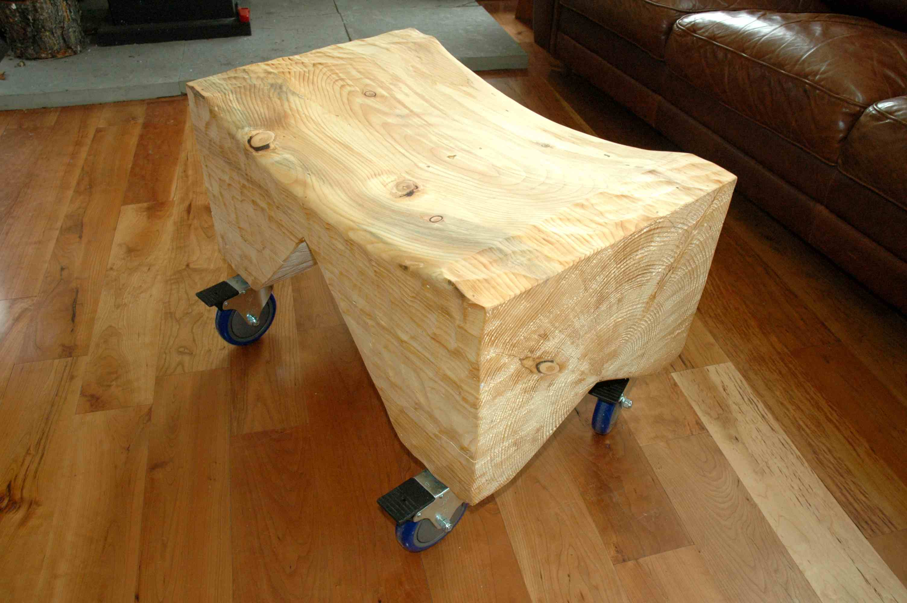 Extremely Curly Maple Slab Custom Dining Table with Sculpted Block Base 2
