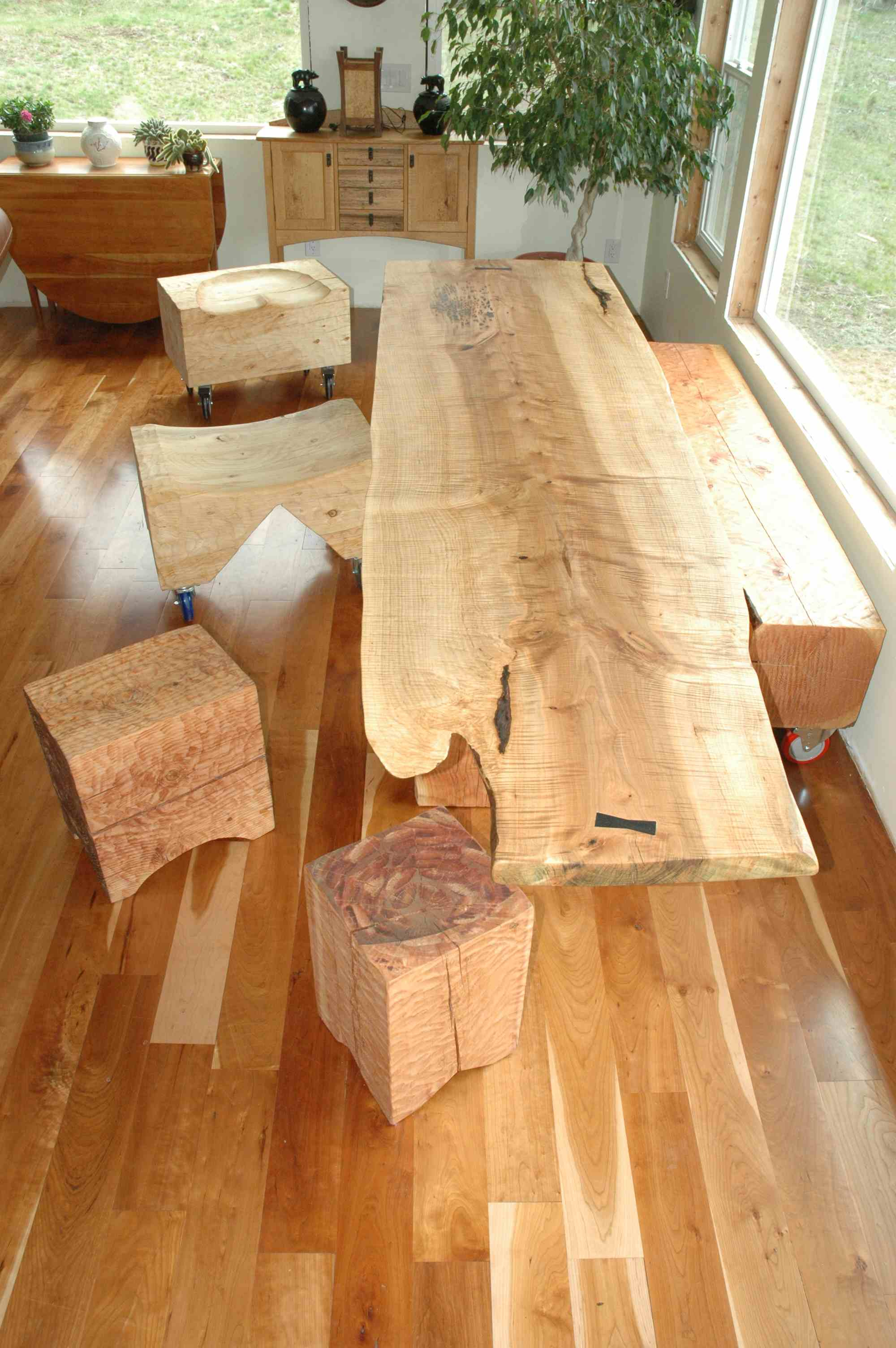 Bench Dining Tables: Curly Maple Slab Custom Dining Table With Sculpted Block Base