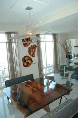 Penthouse Walnut Slab Custom Dining Table