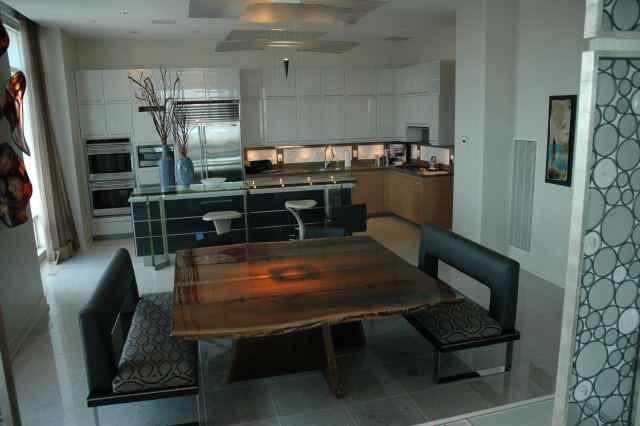 Penthouse Walnut Slab Custom Dining Table2
