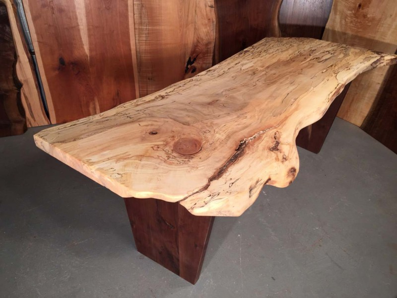 7′ Spalted Maple And Walnut Custom Slab Desk