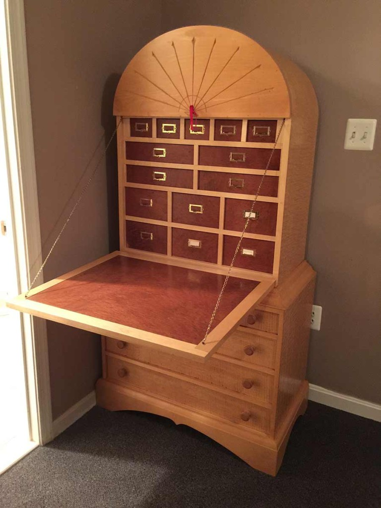 Curved Top Drop Lid Secretary Desk opened