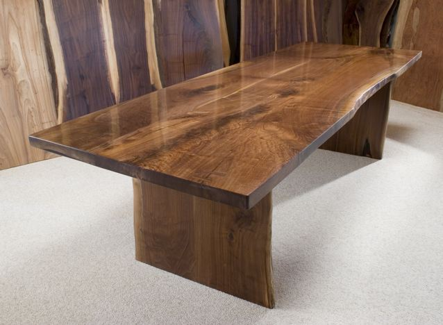 Custom Reclaimed Walnut Slab Dining Table - The