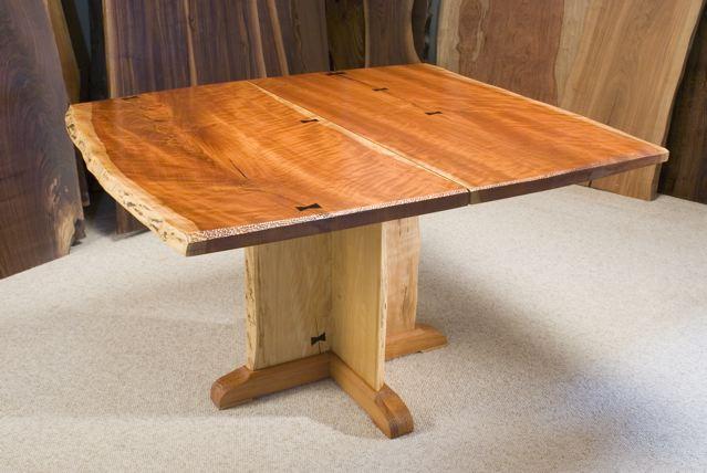 4x4' Custom Cherry Slab Dining Table with Ebony Butterflies