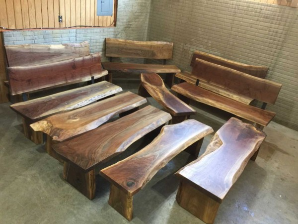 Louisville Kentucky Zoo 5′ Custom Walnut Slab Wooden Benches With and Without Backs