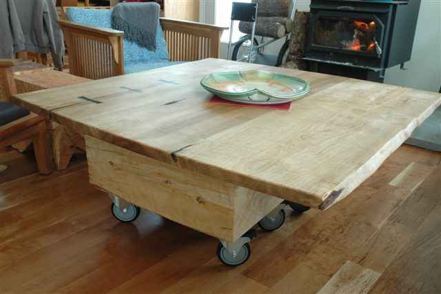 Large Curly Maple Slab Custom Coffee Table