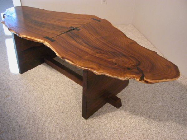 Large Rustic Olive Slab Custom Wooden Coffee Table