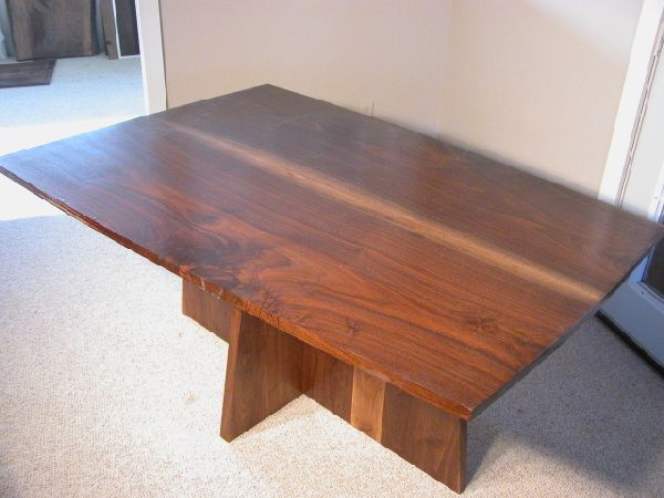 Larger Bookmatched Slab Walnut Custom Kitchen Table