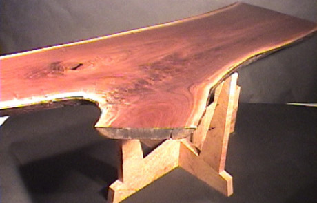 Levitating Custom Walnut Crotch Slab Dining Table 1