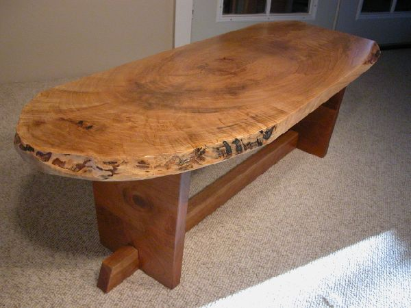 Handmade custom wooden coffee tables by dumond39s furniture for Oak slab coffee table