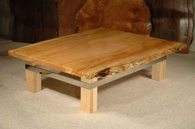 Maple Slab Custom Coffee Table - Custom Wood Slab Coffee Tables: Dumond's Custom Furniture