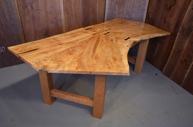 Maple Slab Dining Table With Walnut Base