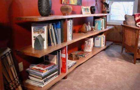 Natural Edge Quarter Sawn Sycamore Slab Custom Bookcase 1
