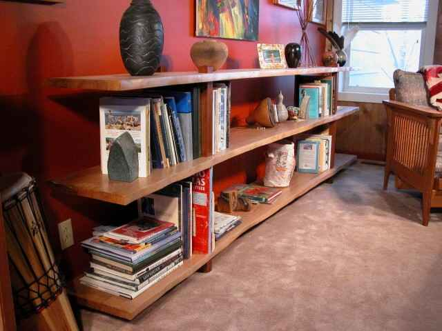 Natural Edge Quarter Sawn Sycamore Slab Custom Bookcase 1