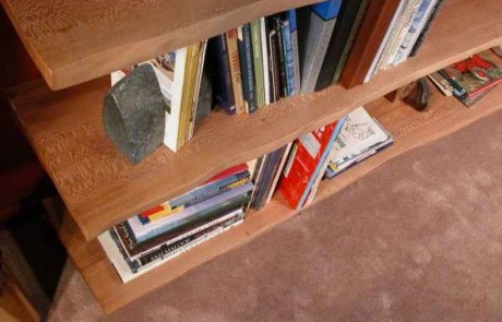 Natural Edge Quarter Sawn Sycamore Slab Custom Bookcase 2