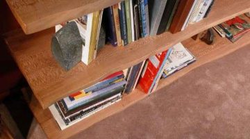 Natural Edge Quarter Sawn Sycamore Slab Custom Bookcase 2