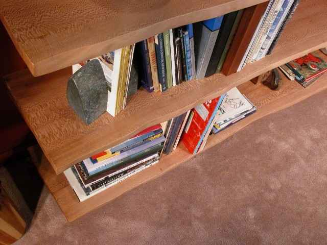 Custom Sycamore Slab Bookcase