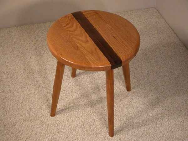 Oak Walnut and Cherry Custom Wooden Stool