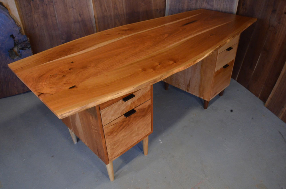 custom wood office furniture. Cherry Slab Natural Edge Organic Desk Custom Wood Office Furniture O