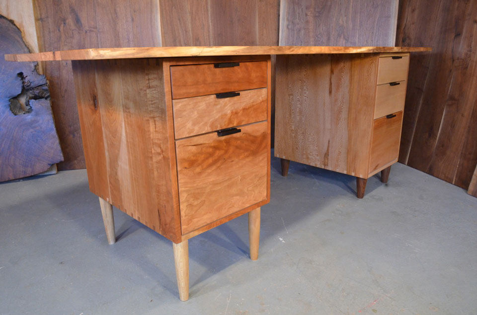 Organic Natural Edge Cherry Slab Custom Executive Desk_2