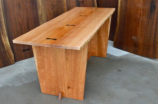 Quarter Sawn Sycamore desk-table with Ebony Butterflies and Cherry Base2