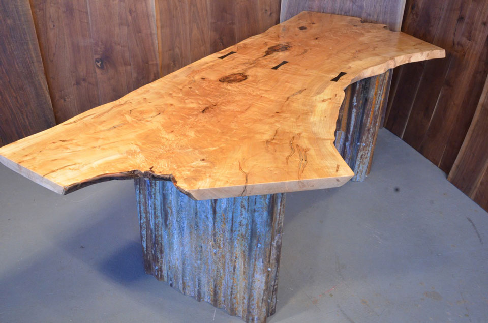 Quilted Maple Slab Custom Executive Desk with Corrugated Steel base_1