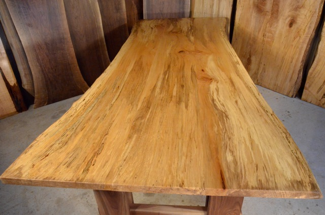 Quilted Spalted Sycamore Dining Table with Walnut Timberframe Base3
