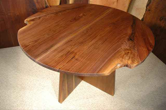 Round Walnut Crotch Wood Slab Custom Dining Table
