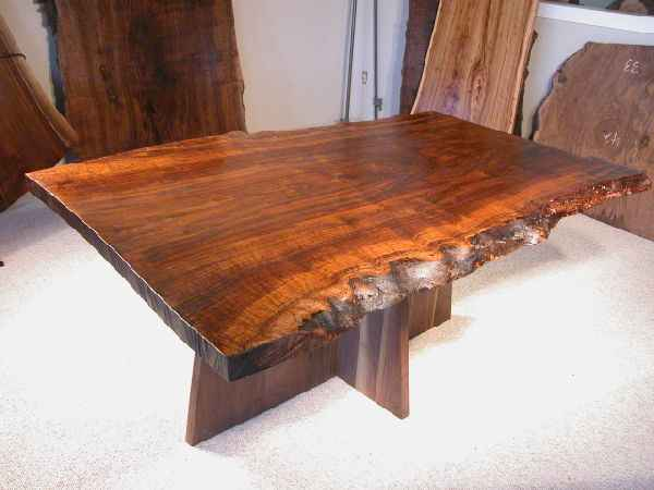 Rustic 5.5′ Custom Claro Slab Custom Walnut Kitchen Table With Organic, Free Form, Natural Edge Top
