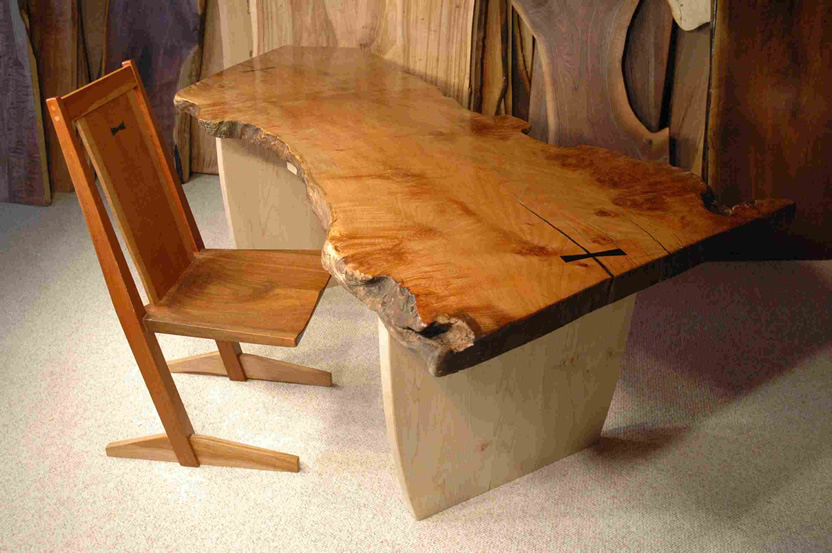 Rustic Burled Maple Slab Desk