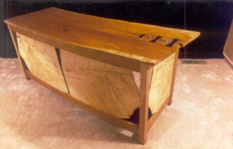 Rustic Cherry and Ash Slab Computer Desk with Ebony Butterflies 1