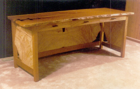 Rustic Cherry and Ash Slab Computer Desk with Ebony Butterflies 2