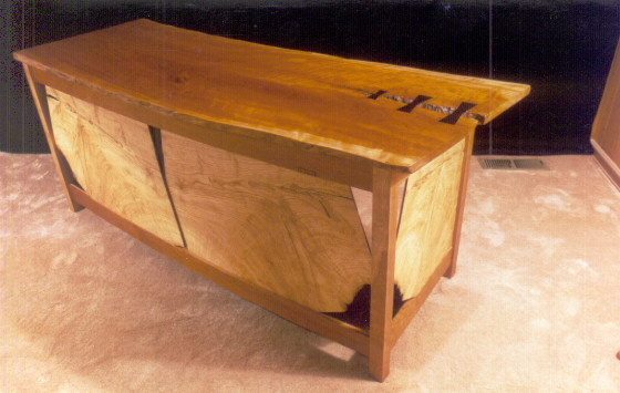 Rustic Cherry and Ash Slab Computer Desk with Ebony Butterflies