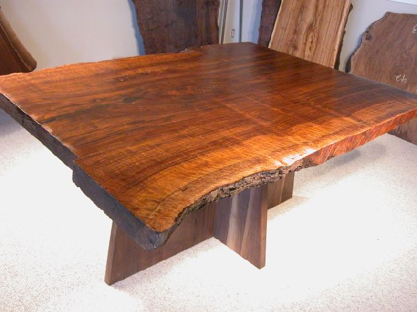 Bookmarked Claro Walnut Dining Table with Walnut Slab Base