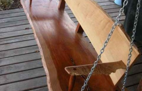 Rustic Custom Cherry Slab Porch Swing 1