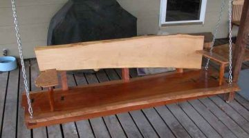Rustic Custom Cherry Slab Porch Swing 2