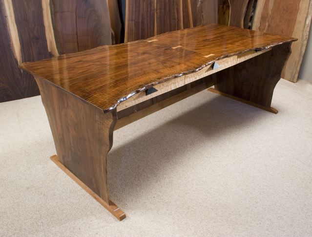 Rustic Desk in Claro Walnut-Hourglass Shaped Slab Desk
