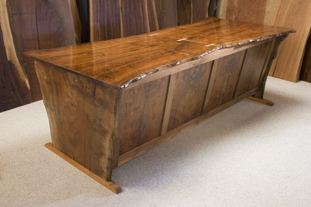 Rustic Desk in Claro Walnut-Hourglass Shaped Slab Desk1