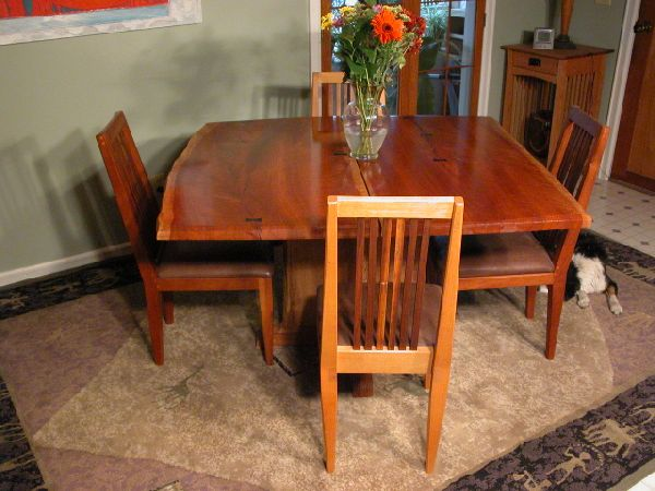 Rustic Log Table Made from Two Cherry Slabs