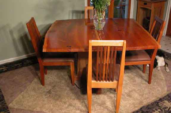 double cherry wood slab custom rustic dining table