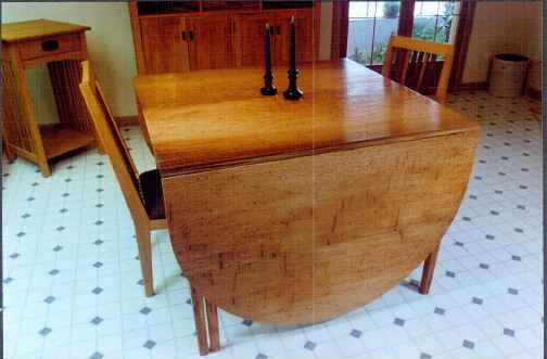 Red Oak drop leaf custom handmade dining table