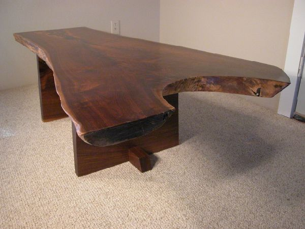 Custom Rustic Walnut Crotch Slab Coffee Table