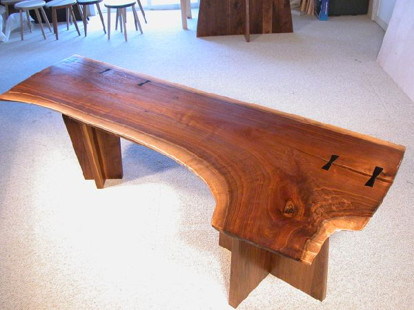 Rustic Walnut Double Pedestal Executive Slab Custom Desk 1