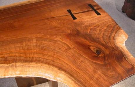 Rustic Walnut Double Pedestal Executive Slab Custom Desk 2
