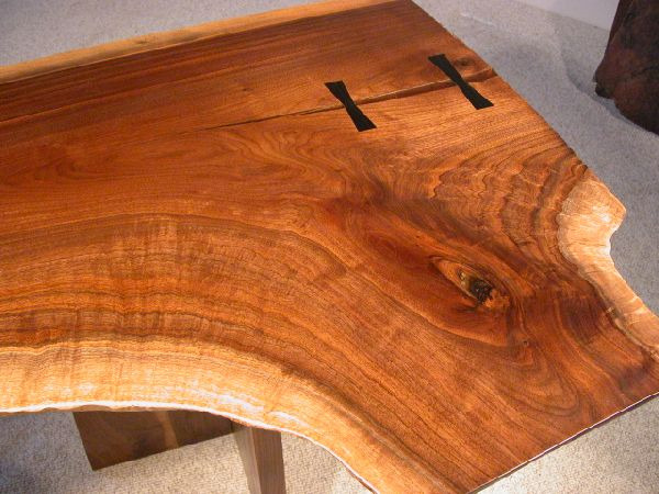 Rustic Walnut Double Pedestal Executive Slab Custom Desk 2