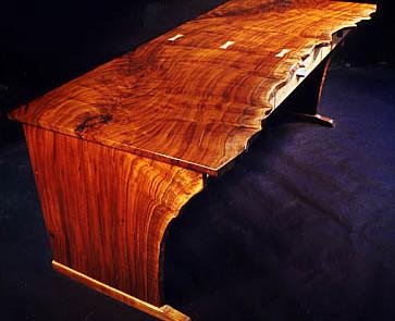 Custom Contemporary Rustic Claro Walnut Slab Desk 1