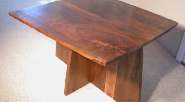 Small Figured Bookmatched Custom Walnut Dining Table 1